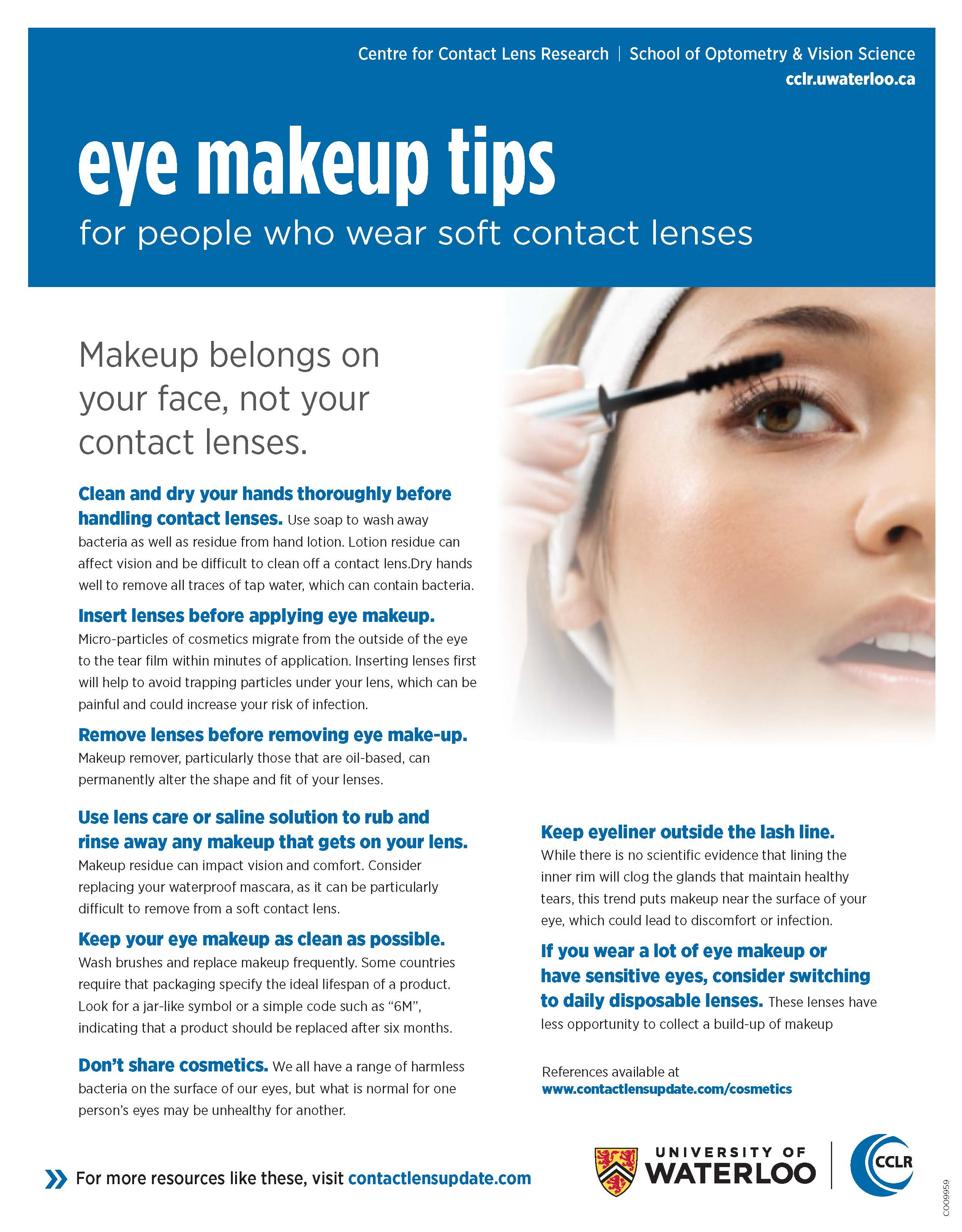 Eye makeup tips for people who wear soft contact lenses